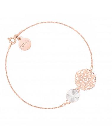 Bransoletka z różowego złota z rozetką i bezbarwnym kryształem SWAROVSKI® CRYSTAL