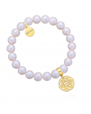 Perłowa bransoletka z opalizujących pereł SWAROVSKI® CRYSTAL ze złotą rozetką