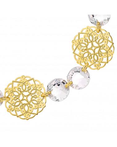 Złota bransoletka z rozetek i bezbarwnych kryształów SWAROVSKI® CRYSTAL