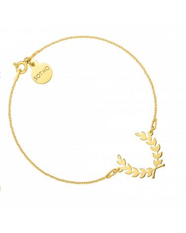 Złota bransoletka z liściem laurowym