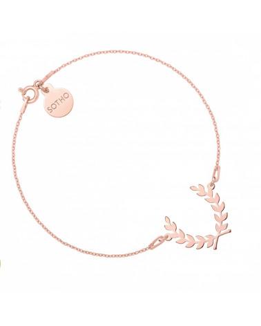Bransoletka z liściem laurowym z różowego złota