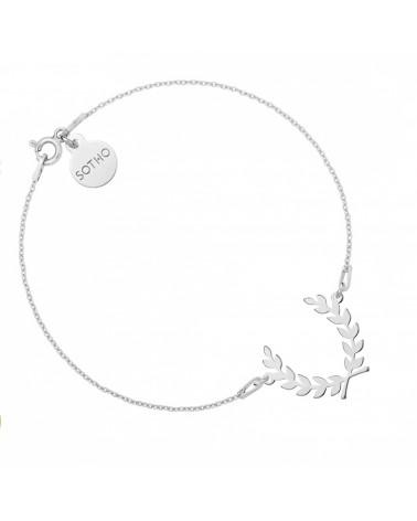 Srebrna bransoletka z liściem laurowym