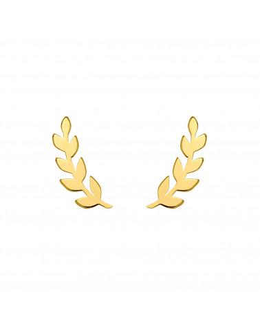 Złote kolczyki liście laurowe