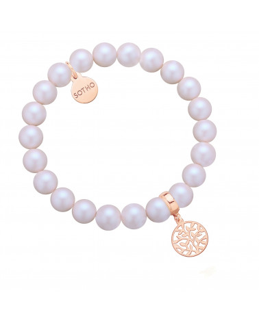 Perłowa bransoletka z pereł SWAROVSKI® CRYSTAL z rozetką z różowego złota