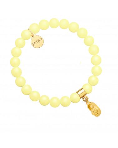 Żółta bransoletka z pereł SWAROVSKI® CRYSTAL ze złotym dziewczęcym bucikiem