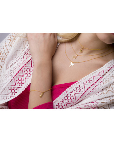 Czerwona bransoletka z pereł SWAROVSKI® CRYSTAL z płatkiem śniegu z różowego złota