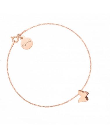Czerwona bransoletka z pereł SWAROVSKI® CRYSTAL ze śnieżynką z różowego złota