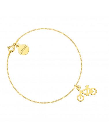 Złota bransoletka z rowerem