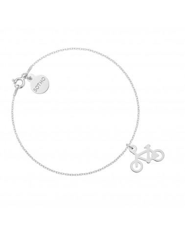 Srebrna bransoletka z rowerem