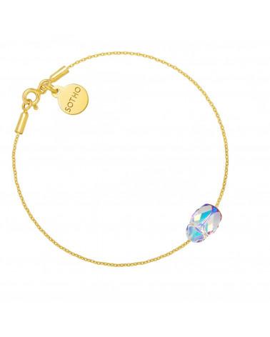 Złota bransoletka zdobiona opalizującym skarabeuszem SWAROVSKI® CRYSTAL