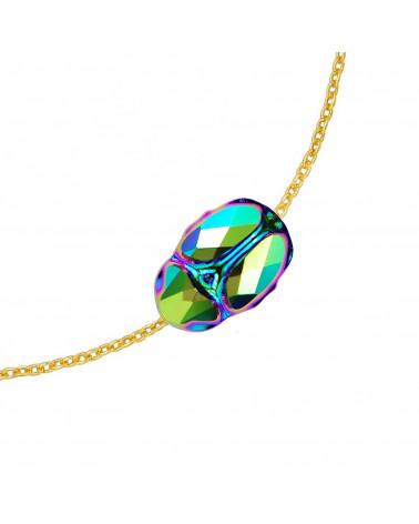 Czarna bransoletka z pereł SWAROVSKI® CRYSTAL z reniferkiem w różowym złocie