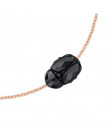 Czarna bransoletka z pereł SWAROVSKI® CRYSTAL ze srebrnym reniferkiem