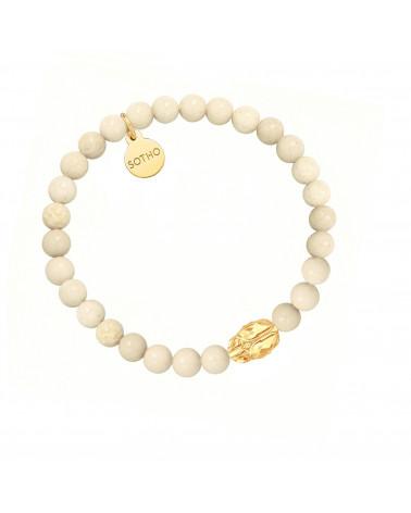 Perłowa bransoletka z pereł SWAROVSKI® CRYSTAL z reniferkiem w różowym złocie