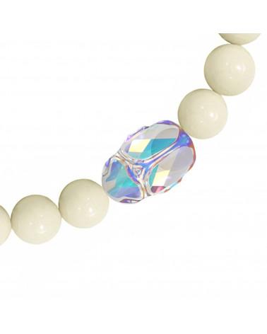 Perłowa bransoletka z opalizujących pereł SWAROVSKI® CRYSTAL ze srebrym reniferkiem