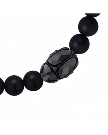 Jasnoróżowa bransoletka z pereł SWAROVSKI® CRYSTAL z reniferkiem w różowym złocie