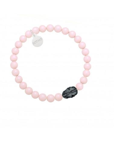 Jasnoniebieska bransoletka pereł SWAROVSKI® CRYSTAL z reniferkiem w różowym złocie