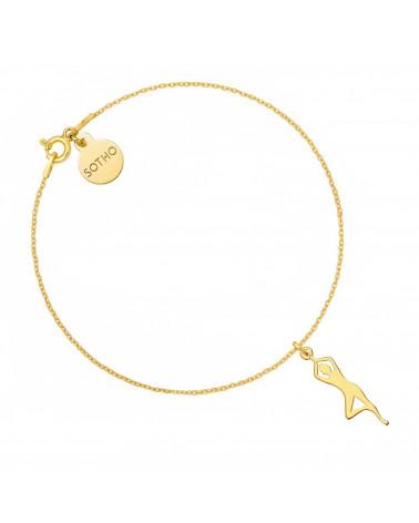 Złota bransoletka z joginką w pozycji drzewa
