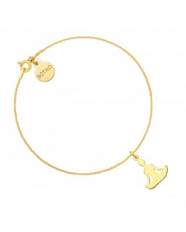 Złota bransoletka z joginką w pozycji kwiatu lotosu