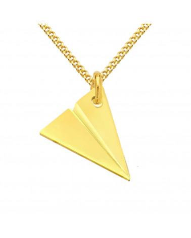 Złoty męski naszyjnik pancerka z samolotem z origami