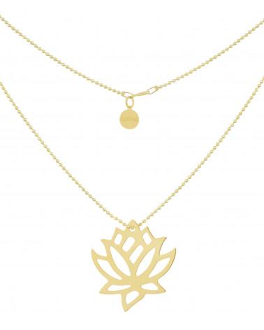 Złoty naszyjnik duży kwiatem lotosu