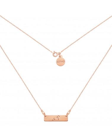 Naszyjnik matowy z różowego złota z konstelacją Lwa