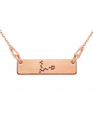 Seledynowo-szary aksamitny choker z krzyżykiem z różowego złota wysadzanym SWAROVSKI® CRYSTAL