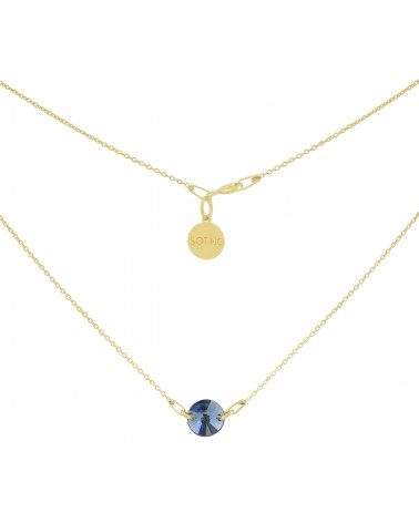Złoty naszyjnik z granatowym kryształem SWAROVSKI® ELEMENTS