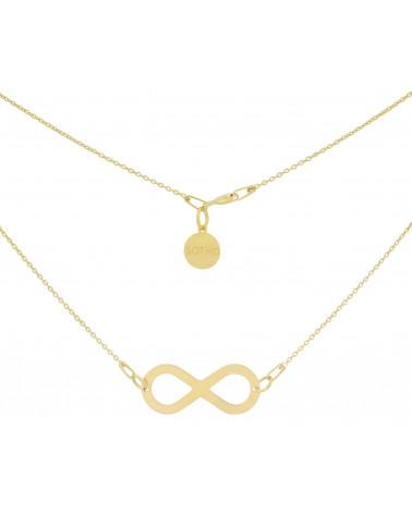 Złoty naszyjnik z dużym symbolem nieskończoności