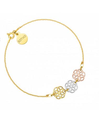 Złota bransoletka z kolorowymi rozetkami