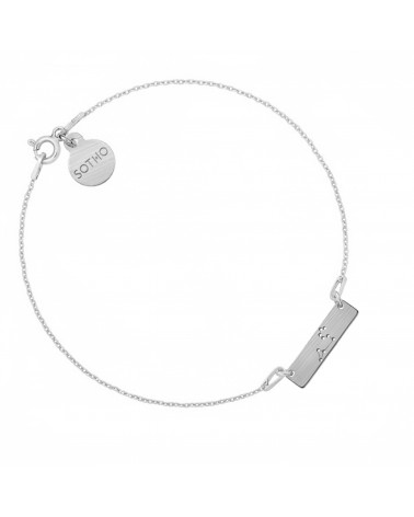Srebrna matowa bransoletka z konstelacją Lwa