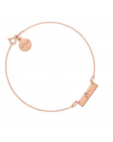 Bransoletka matowa z różowego złota z konstelacją Wodnika