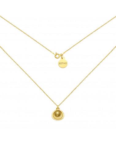Złoty naszyjnik z muszelka i perłą SWAROVSKI® CRYSTAL w kolorze Antique Brass