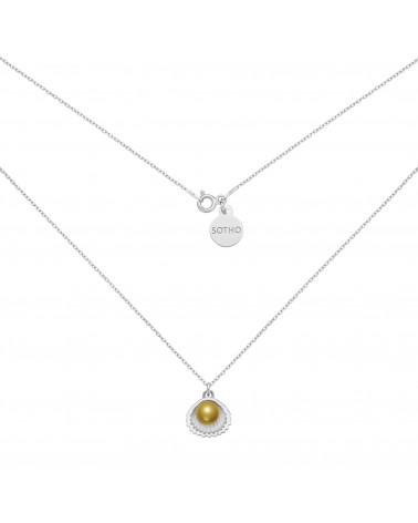 Srebrny naszyjnik z muszelką i perłą SWAROVSKI® CRYSTAL w kolorze Antique Brass