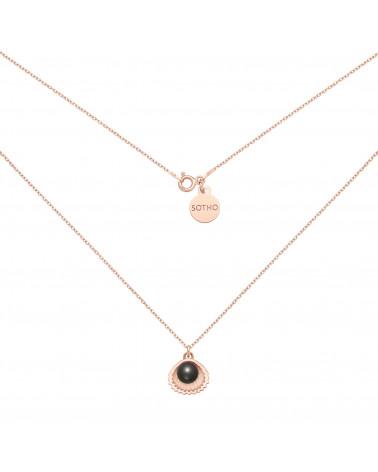 Naszyjnik z różowego złota z muszelką i perłą SWAROVSKI® CRYSTAL w kolorze Black
