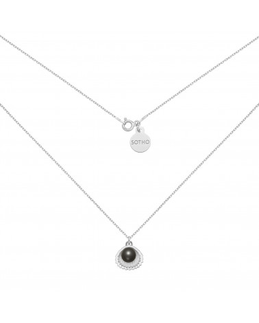 Srebrny naszyjnik z muszelką i perłą SWAROVSKI® CRYSTAL w kolorze Black