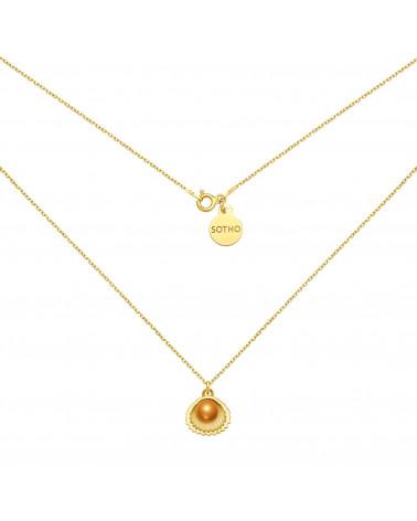 Złoty naszyjnik z muszelką i perłą SWAROVSKI® CRYSTAL w kolorze Cooper