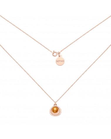 Naszyjnik z różowego złota z muszelką i perłą SWAROVSKI® CRYSTAL w kolorze Cooper
