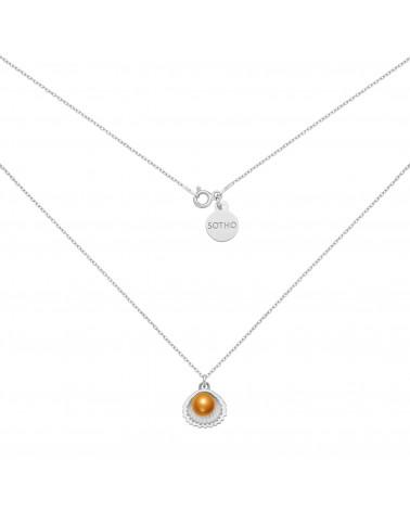 Srebrny naszyjnik z muszelką i perłą SWAROVSKI® CRYSTAL w kolorze Cooper