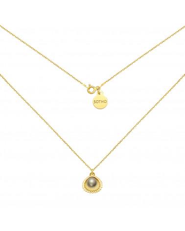 Złoty naszyjnik z muszelką i perłą SWAROVSKI® CRYSTAL w kolorze Dark Grey