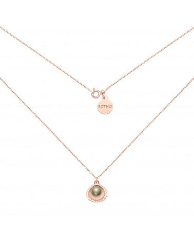 Naszyjnik z różowego złota z muszelką i perłą SWAROVSKI® CRYSTAL w kolorze Dark Grey