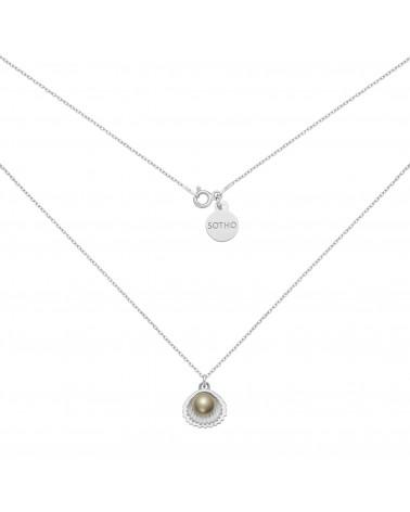 Srebrny naszyjnik z muszelką i perłą SWAROVSKI® CRYSTAL w kolorze Dark Grey