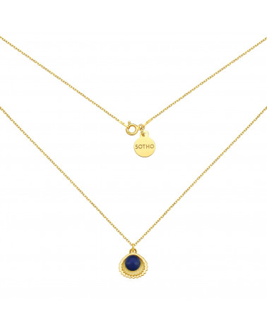 Złoty naszyjnik z muszelką i perłą SWAROVSKI® CRYSTAL w kolorze Dark Lapis
