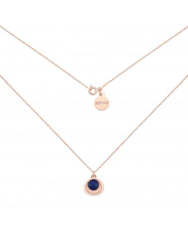 Naszyjnik z różowego złota z muszelką i perłą SWAROVSKI® CRYSTAL w kolorze Dark Lapis