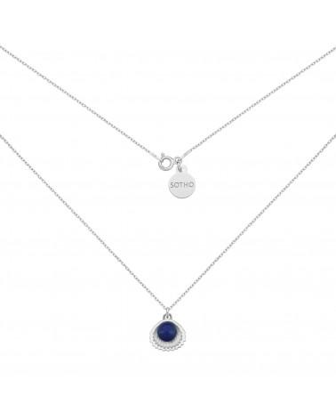 Srebrny naszyjnik z muszelką i perłą SWAROVSKI® CRYSTAL w kolorze Dark Lapis
