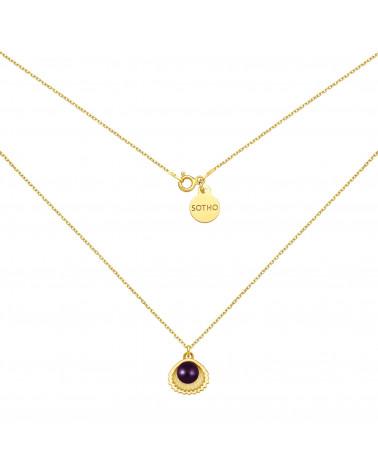 Złoty naszyjnik z muszelką i perłą SWAROVSKI® CRYSTAL w kolorze Dark Purple