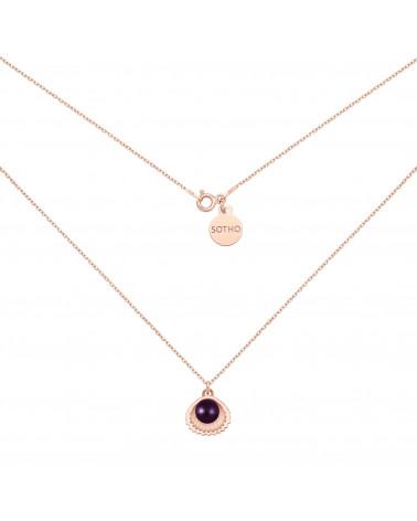 Naszyjnik z różowego złota z muszelką i perłą SWAROVSKI® CRYSTAL w kolorze Dark Purple