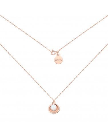 Naszyjnik z różowego złota z muszelką i perłą SWAROVSKI® CRYSTAL w kolorze Pearlescent