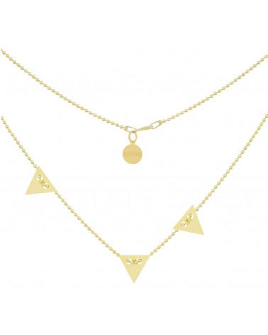 Złoty naszyjnik z trzema trójkątami