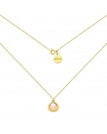 Złoty naszyjnik z muszelką i perłą SWAROVSKI® CRYSTAL w kolorze Rosaline