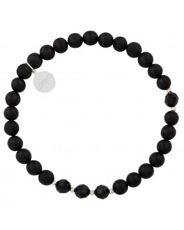 Czarna męska bransoletka onyks matowy z kryształami SWAROVSKI® ELEMENTS